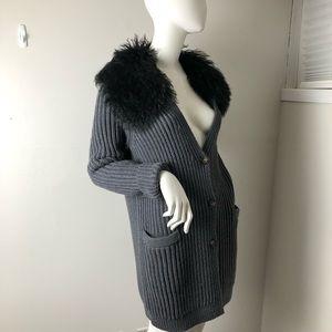 Tory Burch Cardigan Grey Mongolian Wool Collar